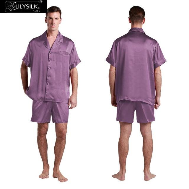 Lilysilk Seda Real Pijamas Homens Curto Com Boxer Violeta Masculino 22 Momme Yukata Sexy Sleepwear Luxo Homem Pijama Salão de Inverno