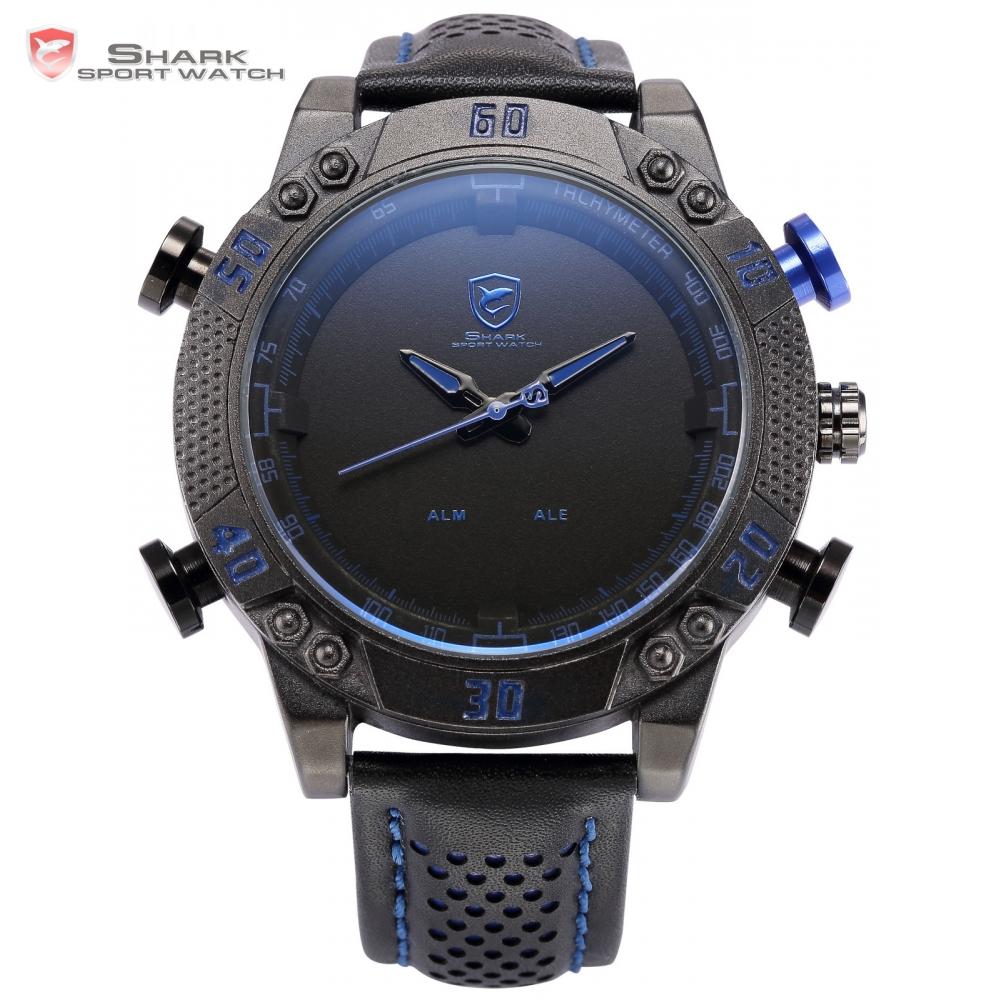 Prix pour Kitefin Shark Sport Montre Noir Bleu Boîtier En Acier Inoxydable LED analogique À Quartz Auto Date Jour Bracelet En Cuir Mens Armée Montres/SH232