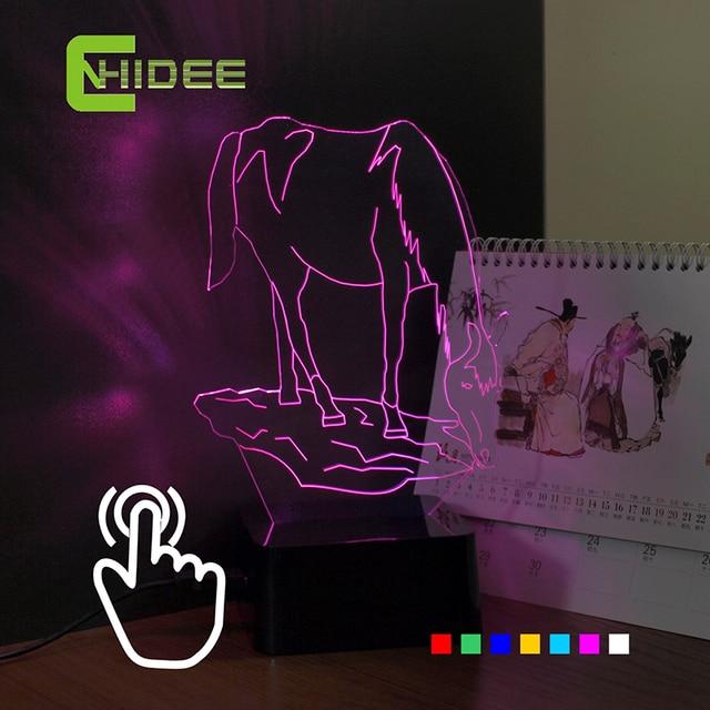 USB Regalos de La Novedad 7 Colores Cambiantes Luces de Navidad Animal Caballo Led Luces de La Noche 3D de Escritorio LED Lámpara de Mesa en Casa decoración