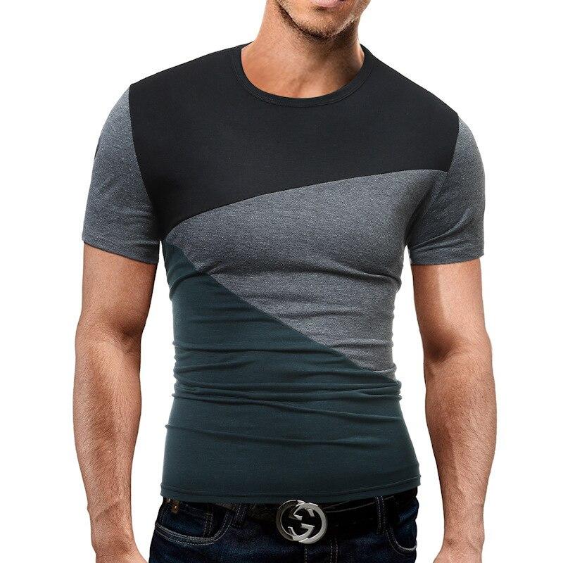 Male Short Sleeve T Shirt O-Neck Men T-Shirt Hip-Hop Simple Splicing Tee Tops Shirt Male T Shirts