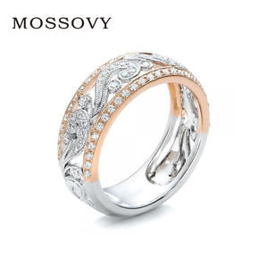Mossovy Color Rose Gold Female Wedding Rings for Women