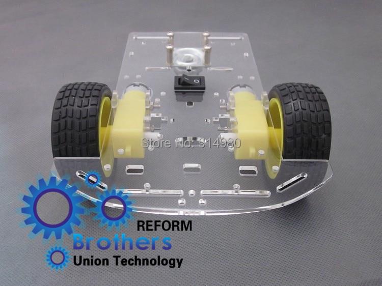 1 компл. двигателя смарт 2WD робот шасси автомобиля комплект для Arduino 2WD робот автомобиль w / скорость энкодера батарейный 1:48 привод с отслежива...