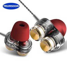 Trumsoon Bass HiFi Earphones Dual Driver Sport Earbuds With Mic for Apple Xiaomi phones MP4 PC