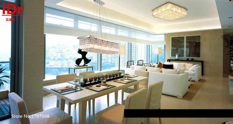 โมเดิร์นสี่เหลี่ยมK9โคมไฟระย้าสำหรับห้องนั่งเล่นที่มีคุณภาพสูงห้าแหวนคริสตัลโคมไฟสูง-endสไตล์ยุโรปเพดาน