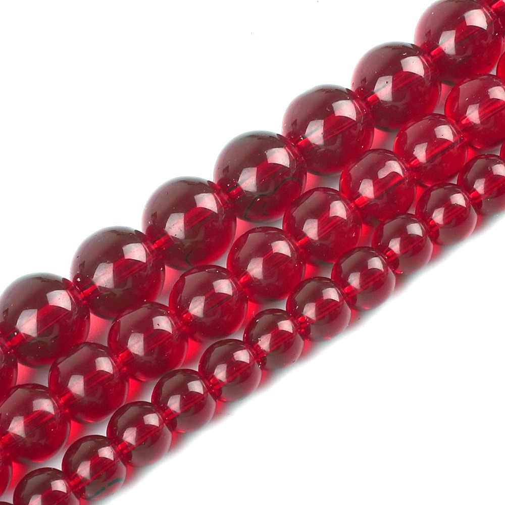 """6/8/10/12mm אדום חלק גרנט זכוכית חרוזים 15 """"סטרנד העגול Loose Spacer חרוזים עבור תכשיטי ביצוע DIY צמיד שרשרת"""