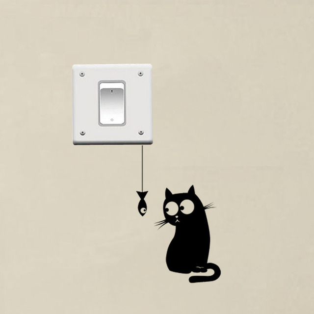 Hungry Cat Funny Switch Stickers