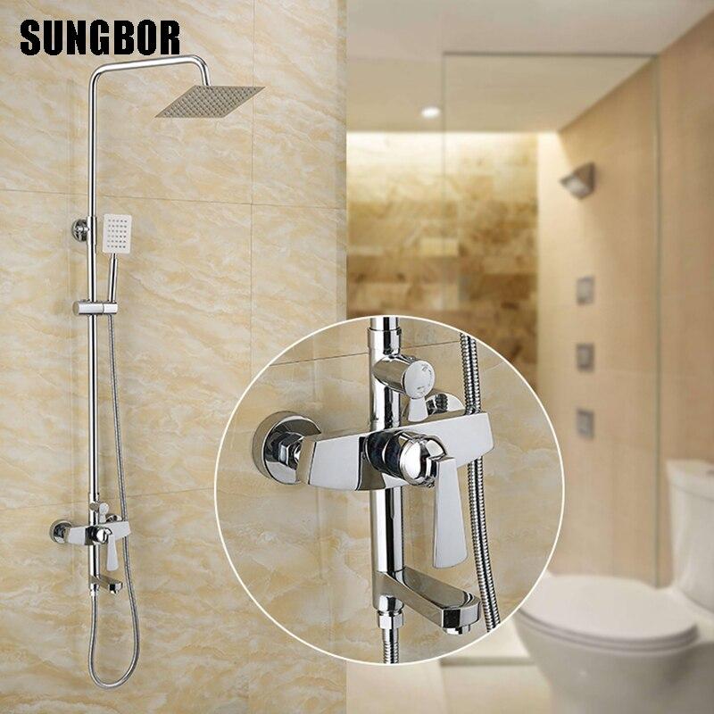 Ensemble de robinet de douche de salle de bain robinet de baignoire chromé mélangeur d'eau froide et chaude mitigeur mitigeur réglable de barre de douche de pluie LY-12132