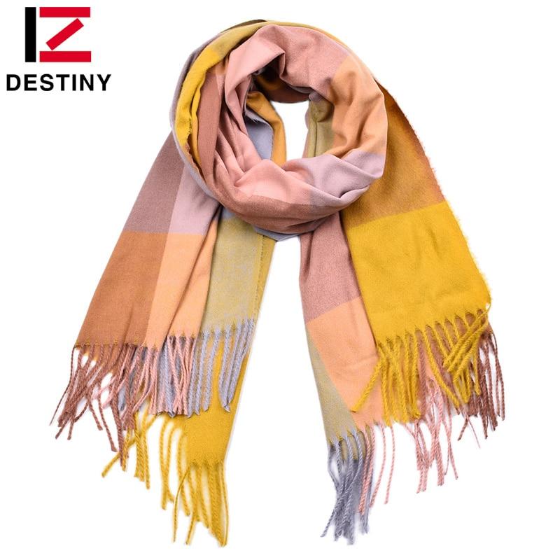 DESTINY New Winter Women Scarf Female Luxury Brand Cashmere Plaid Scarves Fashion Lady Tassel Bandana Shawl Tippet Pashmina Warm