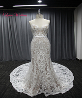 2018 Vintage Lace Bridal Gown Spaghetti Straps Mermaid Wedding Dresses 1M Train Woman Mariee Party Dresses Nude And White