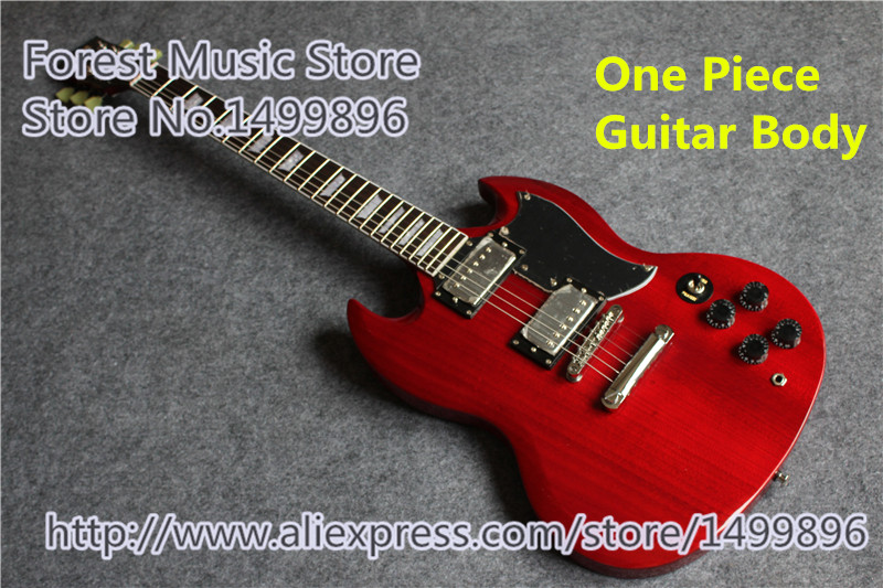 Free Shipping Red G SG Electric Chinese OEM One piece Body Guitar with Black Pickguard Lefty Custom Available musiclily 3ply pvc outline pickguard for fenderstrat st guitar custom