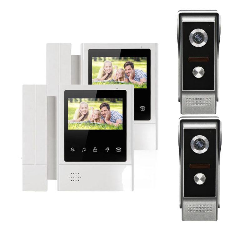 XINSILU Intercom Doorbell Home Security Video System 2X4.3 Touch Key LCD Color Monitor Video Door Phone+2XNight Version Camera