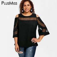 PlusMiss Plus Size 5XL Sexy Mesh Sheer Top Women Clothes Summer 2018 Black Cold Shoulder Flare