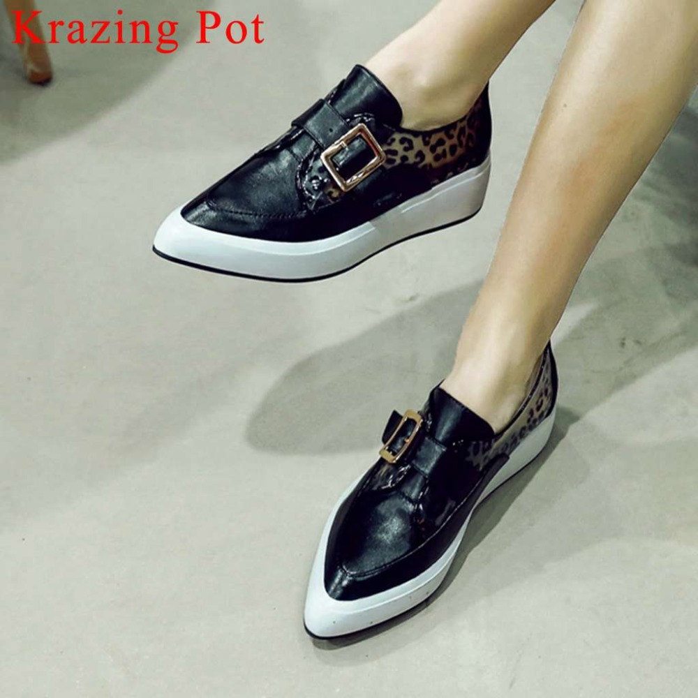 2019 new cow leather young girls oxford pointed toe med bottom platform polka dot buckle strap