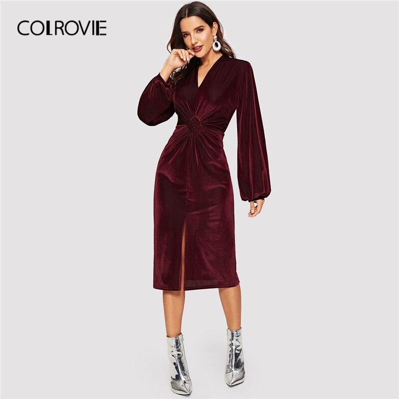 COLROVIE бордовый Твердые твист разрез спереди подол бархат вечерние платье Для женщин 2019 Весна Lateran рукавом элегантное платье дамы миди платье