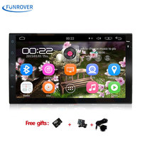 FUNROVER 7 1G+16G Android 6.0 Universal Car DVD Stereo GPS Navigation Double 2 Din 1024*600 HD Head Unit Multimedia Pl RDS BT