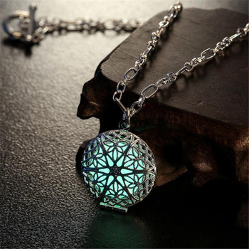 Glow Party Supplies Necklace Pendant Charm Locket Luminous Wicca Goth Choker Jewelry free shipping #202122 locket