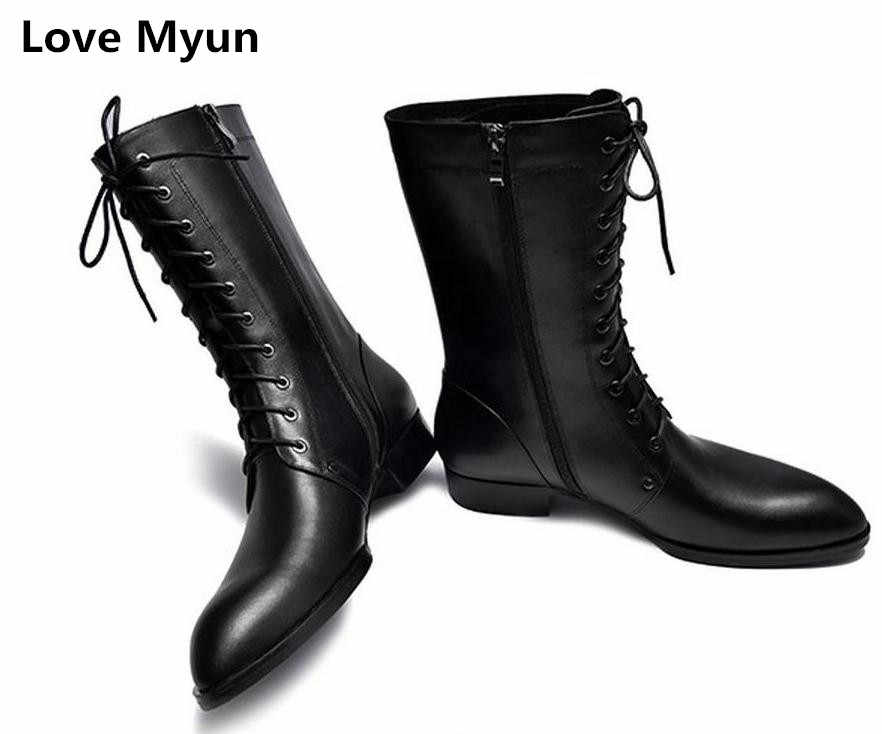 Autumn winter mens pointed toe lace up