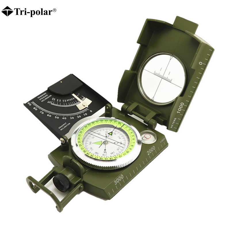 Tri-polar New Professional Military Army Metal Sighting Compass clinometer Camping Outdoor outlife new style professional military tactical multifunction shovel outdoor camping survival folding spade tool equipment