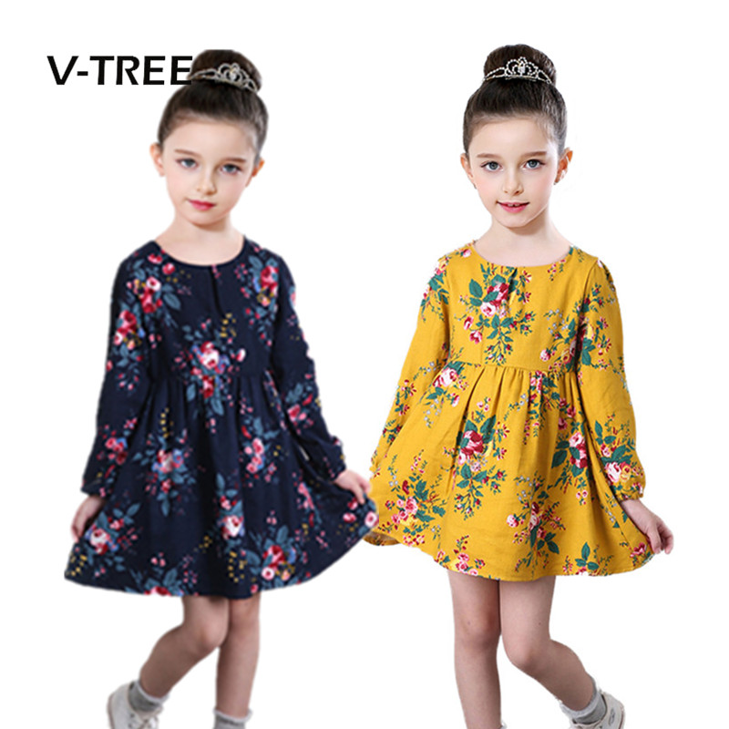 Fashion Girls Dress Longsleeve Cotton Dress For Girl Princess Dress Kids Children Clothes Autumn Baby Girls Clothing 2-7 Year 2017 autumn girl long sleeves dress fashion baby casual kids cotton dress print rainbow 3 8 year old children s clothing lh6010