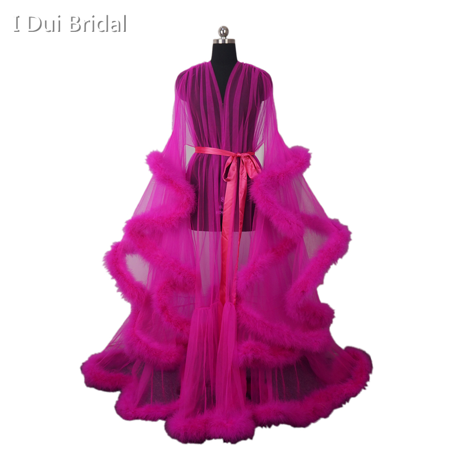 4372251b64be Fuchsia Feather Tulle Evening Dress Long Sleeve Robe Scarf Party Gown  School Dance Dress