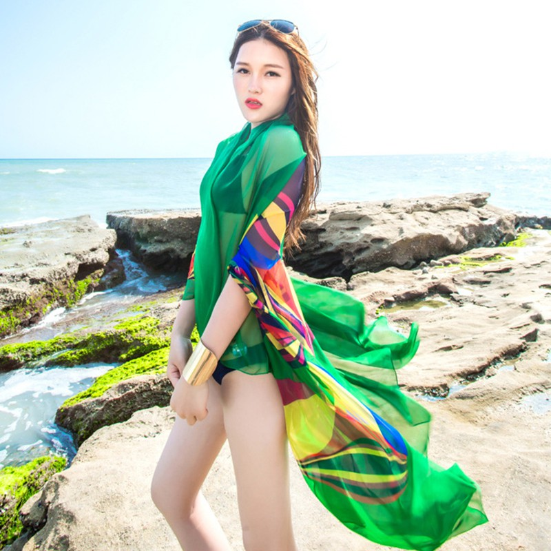 Summer Women Beach Sarongs Chiffon Scarves Geometrical Design Swimsuit Cover Up Dress Plus Size 456