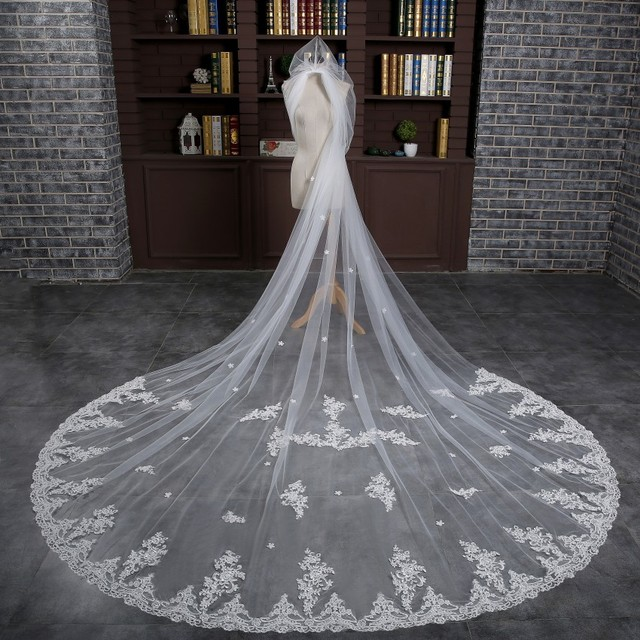 Free Shipping In Stock High Quality 3m Long Wedding Veils White One Layer Appliques Lace Bridal Veils 2017 Wedding Accessories