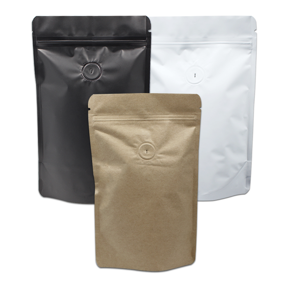 Aliexpress 50pcs Lot Matte Black White Pure Aluminum Foil Coffee Bag Stand Up Pouch With Valve Zip Lock Zipper Resealable Tea Packaging From