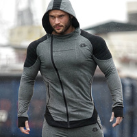 Men 2017 Winter New Cotton Warm Hoodies Gyms Fitness Sweatshirt Casual Fashion Male Hooded Jacket Coat