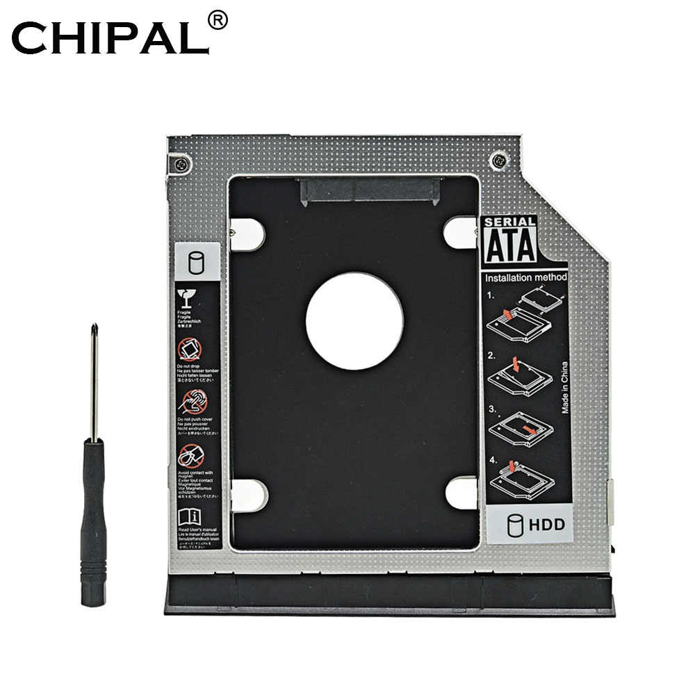 CHIPAL Aluminium 2nd HDD Caddy 9,5mm SATA 3,0 Auswerfer Dual LED für Dell Latitude E6320 E6420 E6520 E6330 E6430 e6530 Optical Bay