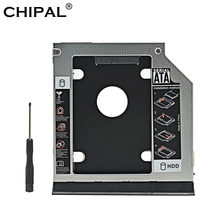 CHIPAL Aluminum 2nd HDD Caddy 9.5mm SATA 3.0 Ejector Dual LED for Dell Latitude E6320 E6420 E6520 E6330 E6430 E6530 Optical Bay(China)