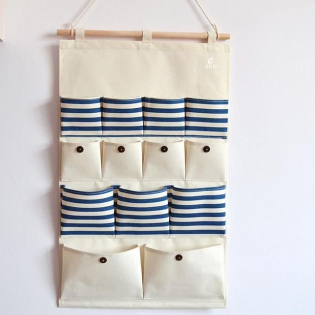 Canvas Cotton Fabric Closet Wall Door Tidy Waterproof Washable Hanging  Organizer Bag Holder Pockets Storage With