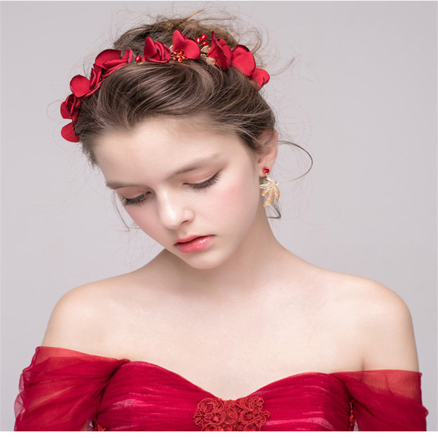 New Arrival Red Wedding Veil Flower Handmade Bridal Headwear Hair Brides Accessories Charming Hairband Bride Married