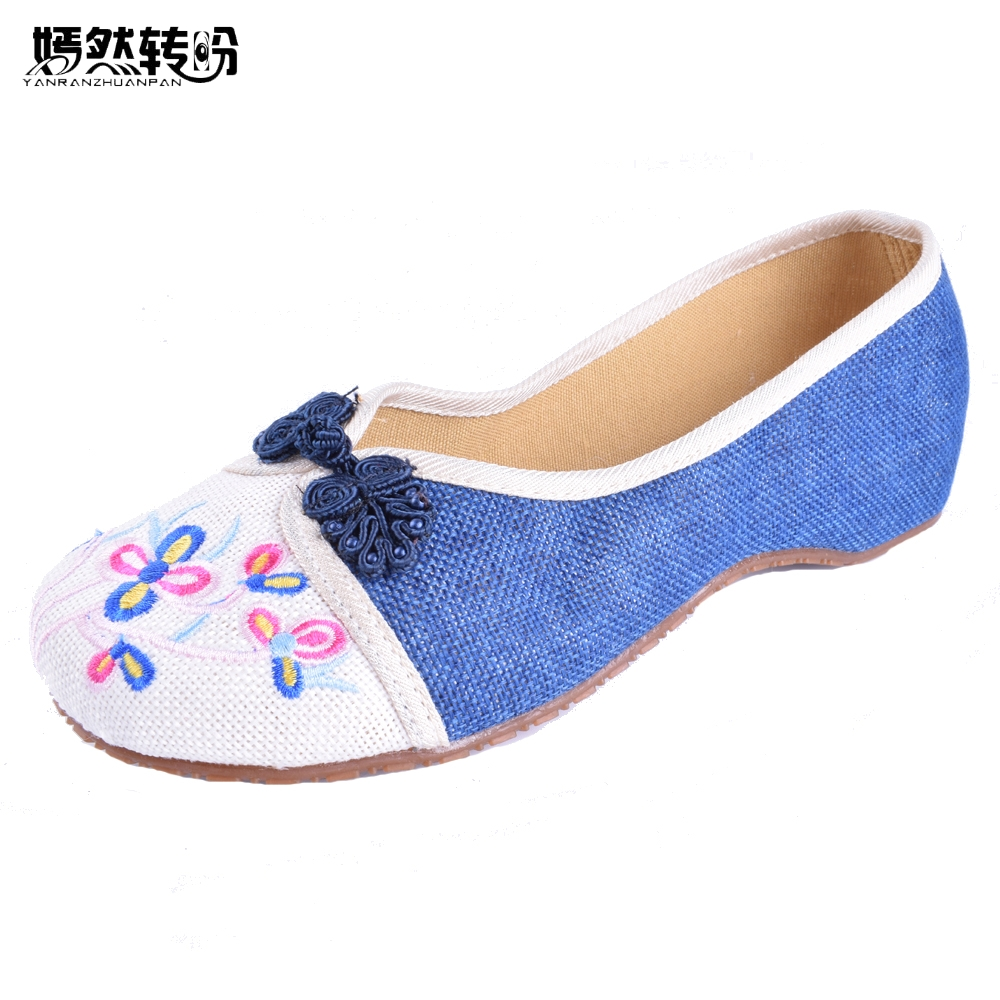 Women Shoes Chinese National Women's Flat Heel Shoes Ladies Old Peking Flower Embroidery Soft Sole Casual Dancing Ballet Shoes 2016 hot sale women s shoes old peking denim shoes flat heel with embroidery soft sole casual shoes dancing shoes size 34 41