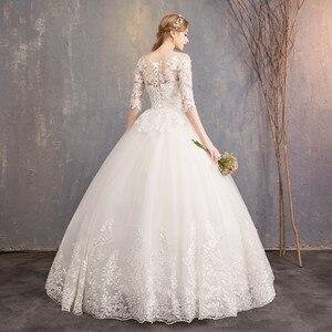 Image 4 - 2021 New Arrival EZKUNTZA Half Sleeve Wedding Dress Lace Ball Gown Princess Simple Plus Size Bride Dress Vestido De Noiva
