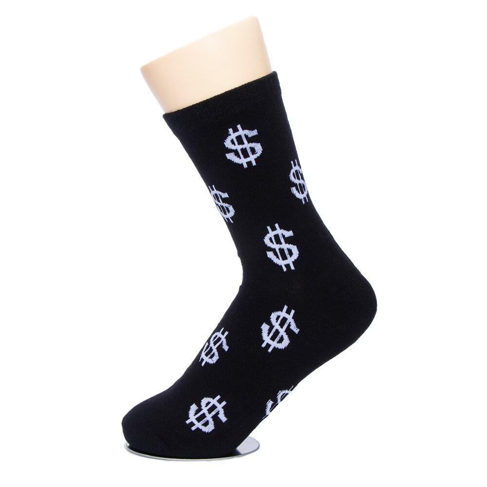 1 Pair Casual Short Socks Men's Dollar Signs Money Design Cotton Warm Socks Softly Breathable Harajuku Socks For Unisex