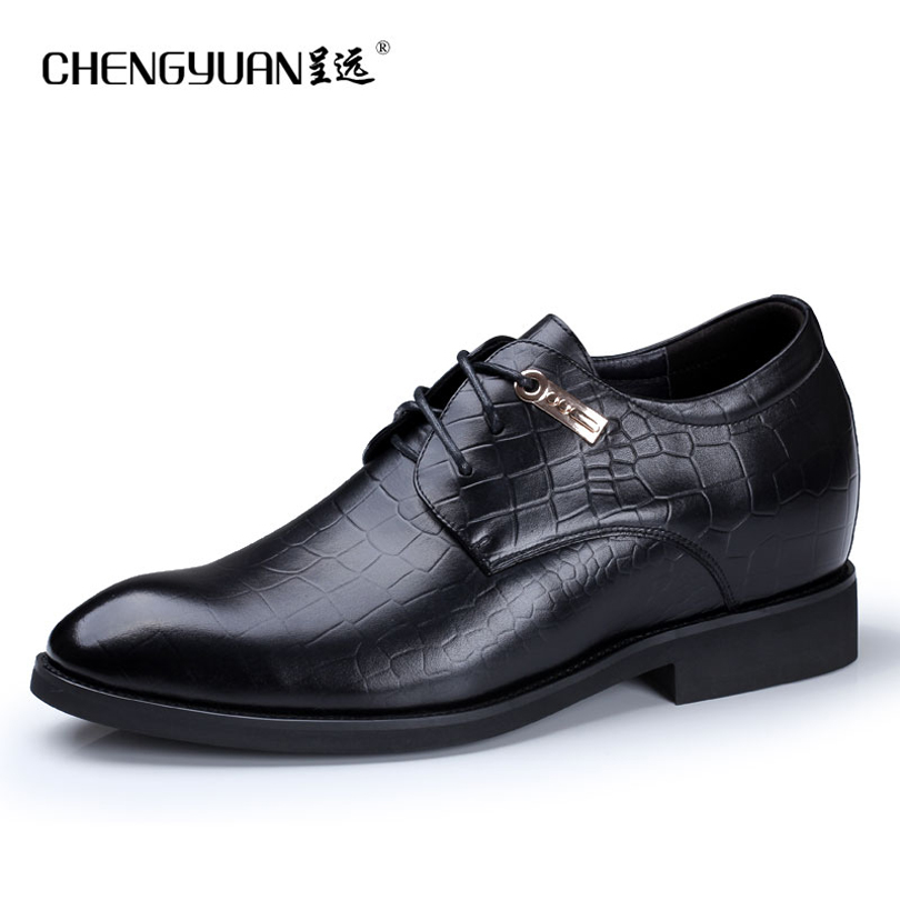 ФОТО CHENGYUAN Men's Exquisite classic business increase 7cm leather shoes black straps comfortable leather dress  work shoes ZA505