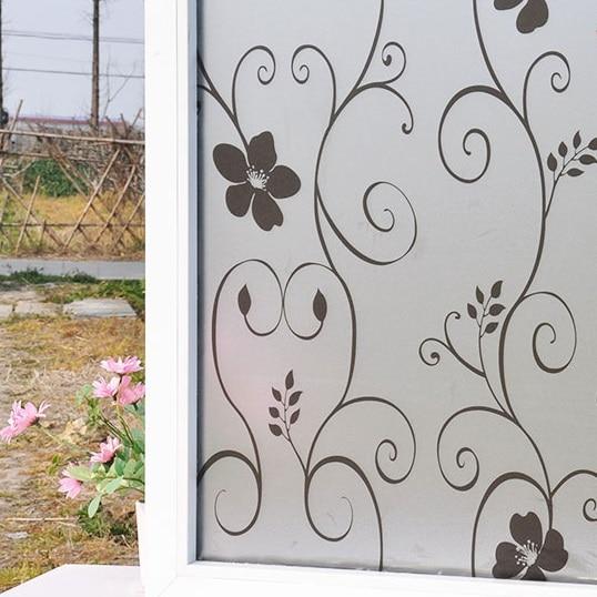 Vysoce kvalitní 45x100cm okenní film Bez lepidla Neprůhledný vinylový matný film na ochranu soukromí Dekorativní Smart-Film-Glass Flower