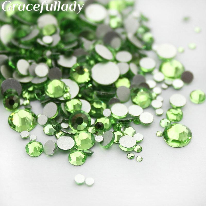 Light Green Shiny Rhinestones 1000pcs Mix Sizes 3D Nail Art Non HotFix Stones Flatback For Nails Decoration колонка interstep sbs 150 funny bunny light green