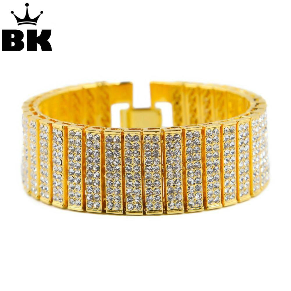 Men Hip Hop Bracelet Iced Out Silver Gold Zinc Alloy Chain Bracelet Rhinestone Tennis HipHop Bracelet Party Gift