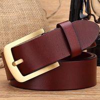 2016 Brand New Solid Brass Buckles Full Grain Leather Belt Boutique Designer Belts Men High Quality