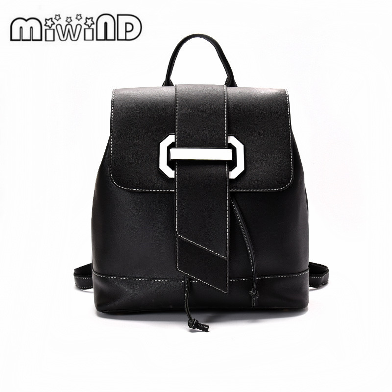 2017 MIWIND Women Backpack High Quality PU Leather Mochila Escolar School Bags For Teenagers Girls Top-handle Backpacks Fashion 50pcs bearing 627zz 627 2z 7x22x7 627 627z mochu shielded miniature ball bearings mini ball bearing deep groove ball bearings
