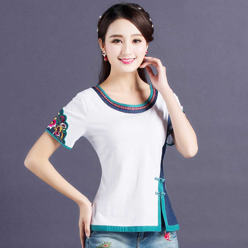 Ethnic Embroidery White T Shirt Women Patchwork Plus size Ladies Elegant 95% Cotton Bottoming Tees Shirts O neck Slim fit Tops