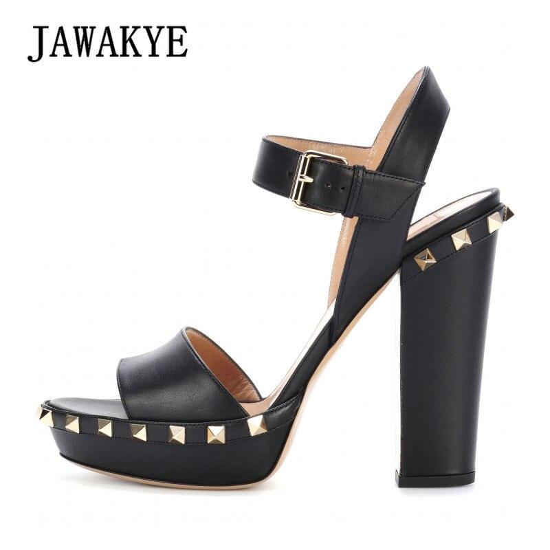 JAWAKYE New designer High Platform Sandals Women Rivets Studded Summer Black Leather Shoes Ankle strap pumps women shoes