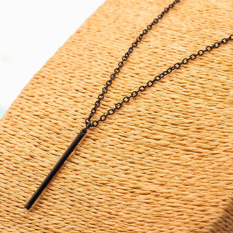 Simples delicado barra fina colares & pingentes haste longa colar moda jóias de verão ouro/cor prata collier femme