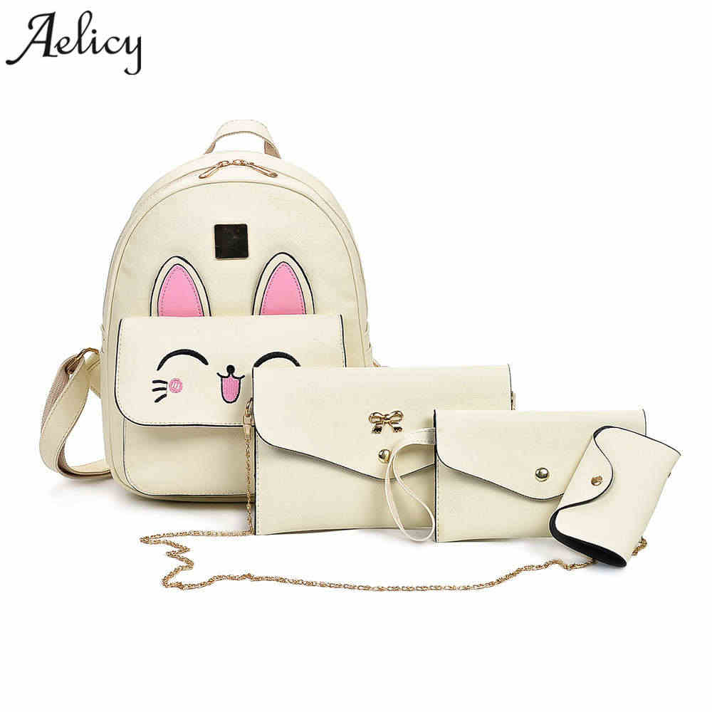 Detail Feedback Questions about Aelicy Backpack Women Bag Hot Sale 4 Sets  Backpacks For Teenage Girls Cute Cat Pattern School Bags For Girls Pu  Leather ... a19c90a214dae