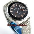 Solide 43mm herren uhr zifferblatt schwarz Schwarz Keramik Lünette saphirglas Automatische bewegung armbanduhr