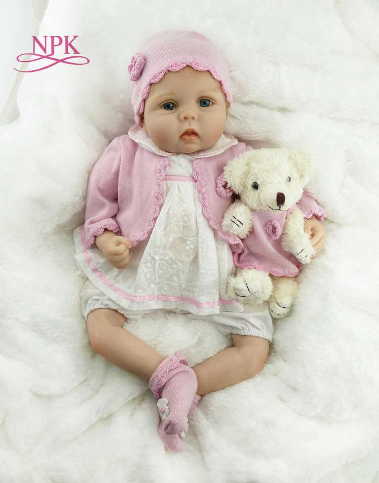 Muñeca de juguete NPK de 55cm suave con tacto real y cuerpo de silicona suave de vinilo Reborn para niños y niñas muñecos recién nacidos