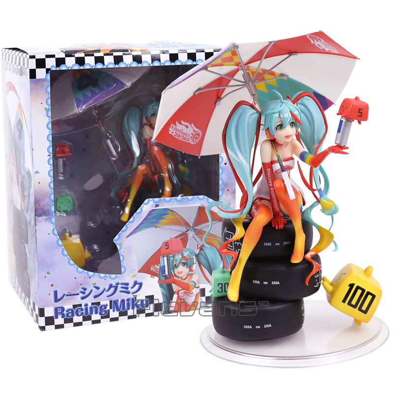Hatsune Miku Racing Miku 2016 ver. 1/8 Scale PVC Painted Figure Collectible Model Toy 22cm hatsune miku ride bicycle figma 307 racing miku 2015 teaomukyo support ver pvc figure collectible toy 15cm kt4009