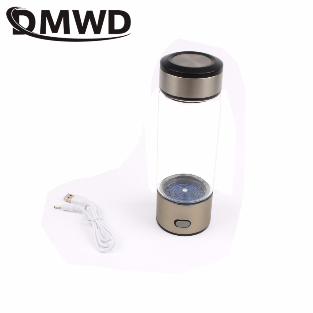 DMWD Rechargeable USB Hydrogen Rich Water Ionizer Generator portable Glass Bottle cup ORP Hydrogen Alkaline h2 water maker 400ml 260ml rechargeable rich hydrogen water generator electrolysis energy hydrogen rich antioxidant orp h2 water ionizer glass bottle