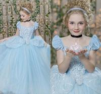 Cinderella Sky Blue Pageant Dresses For Teens with Cap Sleeve Pleats Sequins Lace Kids Ball Gown Flower Girl Dress Size2 16Y